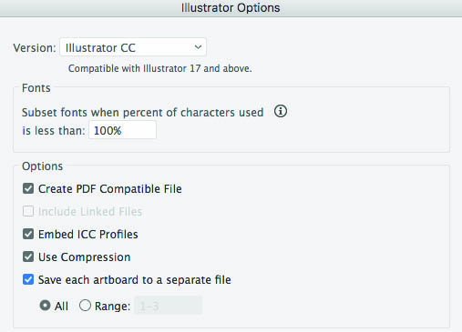 Illustrator Options Selection Options