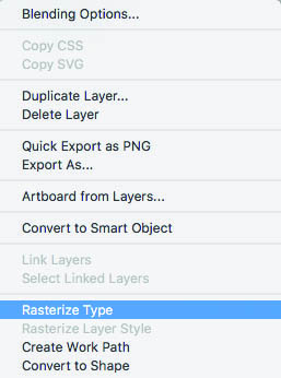 Rasterize Type Dropdown